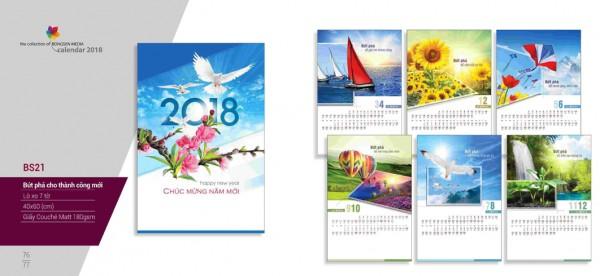 Lịch lò xo 7 tờ 2018 - BS21